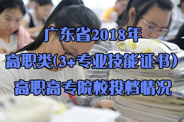 广东省2018年高职类(3+专业技能证书)高职高专院校投档情况
