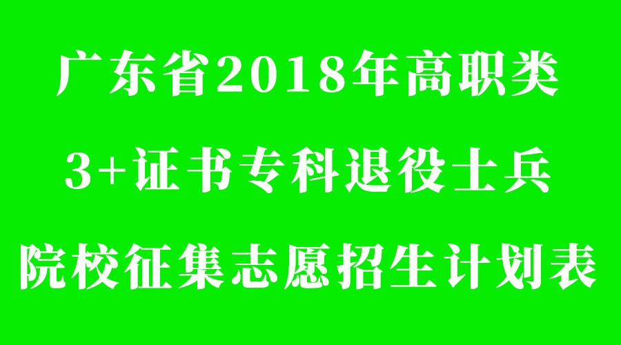 2018年高职类3+证书专科退役士兵院校征集志愿招生计划表